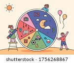 children are planning a day on... | Shutterstock .eps vector #1756268867