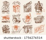 honey and bees set. beekeeper... | Shutterstock .eps vector #1756276514