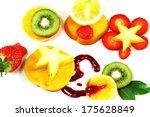 sliced tropical fruits on white ...   Shutterstock . vector #175628849