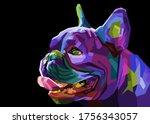 Colorful Pug Head Dog On...