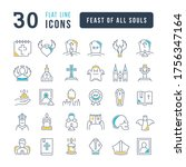 set vector line thin icons of... | Shutterstock .eps vector #1756347164