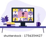 conference video call  remote...   Shutterstock .eps vector #1756354427