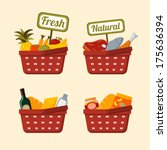 shopping basket set with... | Shutterstock .eps vector #175636394