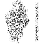 mehndi flower pattern for henna ... | Shutterstock .eps vector #1756420574