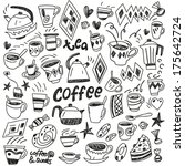 coffee  tea cups and sweets  ...   Shutterstock .eps vector #175642724