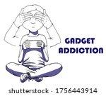 gadget addicted boy. technology ... | Shutterstock .eps vector #1756443914