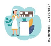 woman cook. vector illustration ... | Shutterstock .eps vector #1756478537