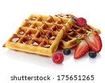 Belgium Waffles With Caramel...