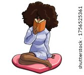 Afro Hairstyle Woman Sitting On ...
