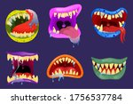 monsters mouths. halloween... | Shutterstock .eps vector #1756537784