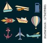vector set icons of transport   Shutterstock .eps vector #175659881