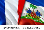 France and Haiti flags. 3D Waving flag design. France Haiti flag, picture, wallpaper. France vs Haiti image,3D rendering. France Haiti relations alliance and Trade,travel,tourism concept