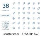 isometric line art icon set.... | Shutterstock .eps vector #1756704467