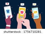 hand holding phone  close up.... | Shutterstock .eps vector #1756710281