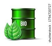 green barrel of biofuel with... | Shutterstock .eps vector #1756720727