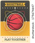 retro poster with basketball... | Shutterstock .eps vector #175674647