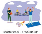 people performing sports... | Shutterstock .eps vector #1756805384