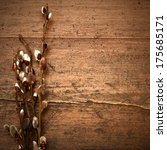 willow branches on a wooden... | Shutterstock . vector #175685171