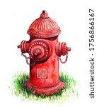 Fire Hydrant. Watercolor...