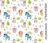 seamless pattern watercolor...   Shutterstock . vector #1756904504
