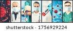 coronavirus covid 19 photo set...   Shutterstock . vector #1756929224