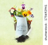 Beautiful pansy flowers and garden tools. Vintage style. - stock photo