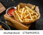 tasty french fries potatoes on... | Shutterstock . vector #1756943921