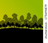 forest trees silhouettes...   Shutterstock .eps vector #175694879