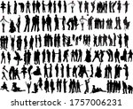 100 people silhouettes. b w... | Shutterstock . vector #1757006231
