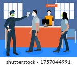 security checking forehead...   Shutterstock .eps vector #1757044991