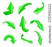 green 3d shiny arrows. set of...   Shutterstock . vector #1757052221