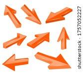 orange straight 3d arrows....   Shutterstock . vector #1757052227