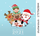 merry christmas and happy new... | Shutterstock .eps vector #1757065844