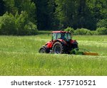 red tractor on a green field | Shutterstock . vector #175710521