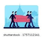 coffin bearers flat color... | Shutterstock .eps vector #1757112161