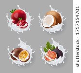 realistic fruits with milk... | Shutterstock .eps vector #1757154701