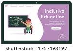 boy in wheelchair solves... | Shutterstock .eps vector #1757163197