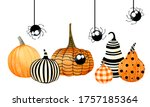 Colorful Pumpkins With Cute...