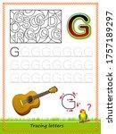 worksheet for tracing letters.... | Shutterstock .eps vector #1757189297