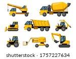Construction Trucks Set. Yellow ...