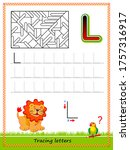worksheet for tracing letters.... | Shutterstock .eps vector #1757316917