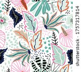 seamless tropical pattern with... | Shutterstock .eps vector #1757317814