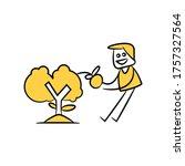 gardener harvesting orange from ... | Shutterstock .eps vector #1757327564