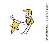 businessman pulling marker pin... | Shutterstock .eps vector #1757341184
