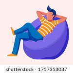 young man sitting and chilling... | Shutterstock .eps vector #1757353037
