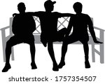 black silhouettes of people... | Shutterstock .eps vector #1757354507