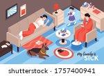 isometric cold flu virus sick...   Shutterstock .eps vector #1757400941