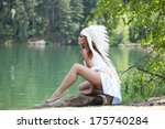 young woman in costume of... | Shutterstock . vector #175740284