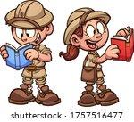 safari kids with explorer... | Shutterstock .eps vector #1757516477
