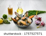 Plate With Raw Large Mussels In ...